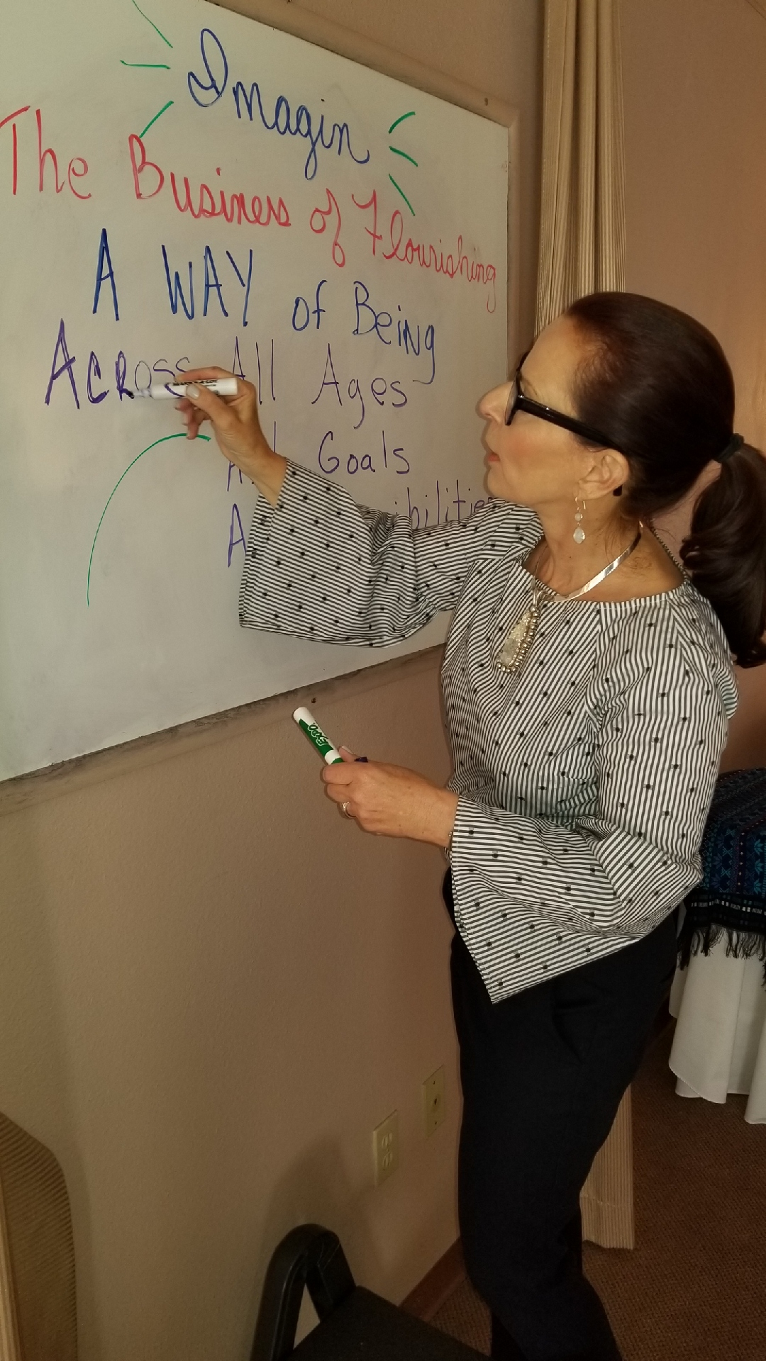 Andrea Goeglein writing on a white board