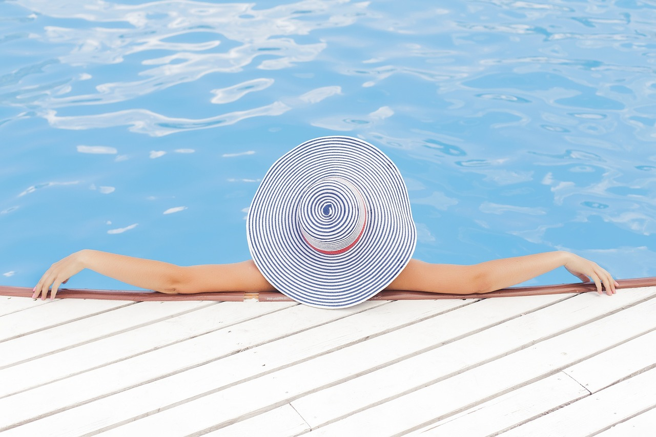 woman relaxing in a pool